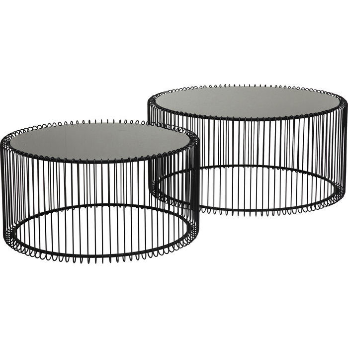 tavolino in metallo e vetro kare design lops arredi