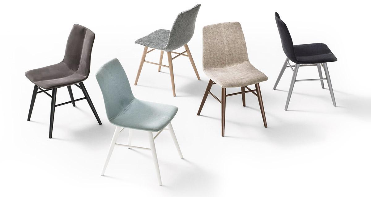 Sedie soggiorno moderne legno tessuto Lops Arredi