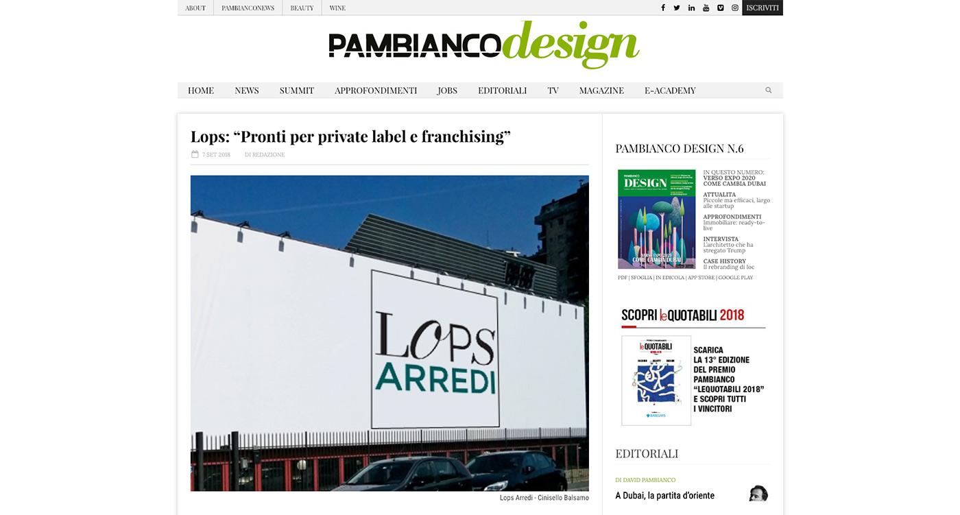 Rassegna stampa Lops Arredi Pambianco Design