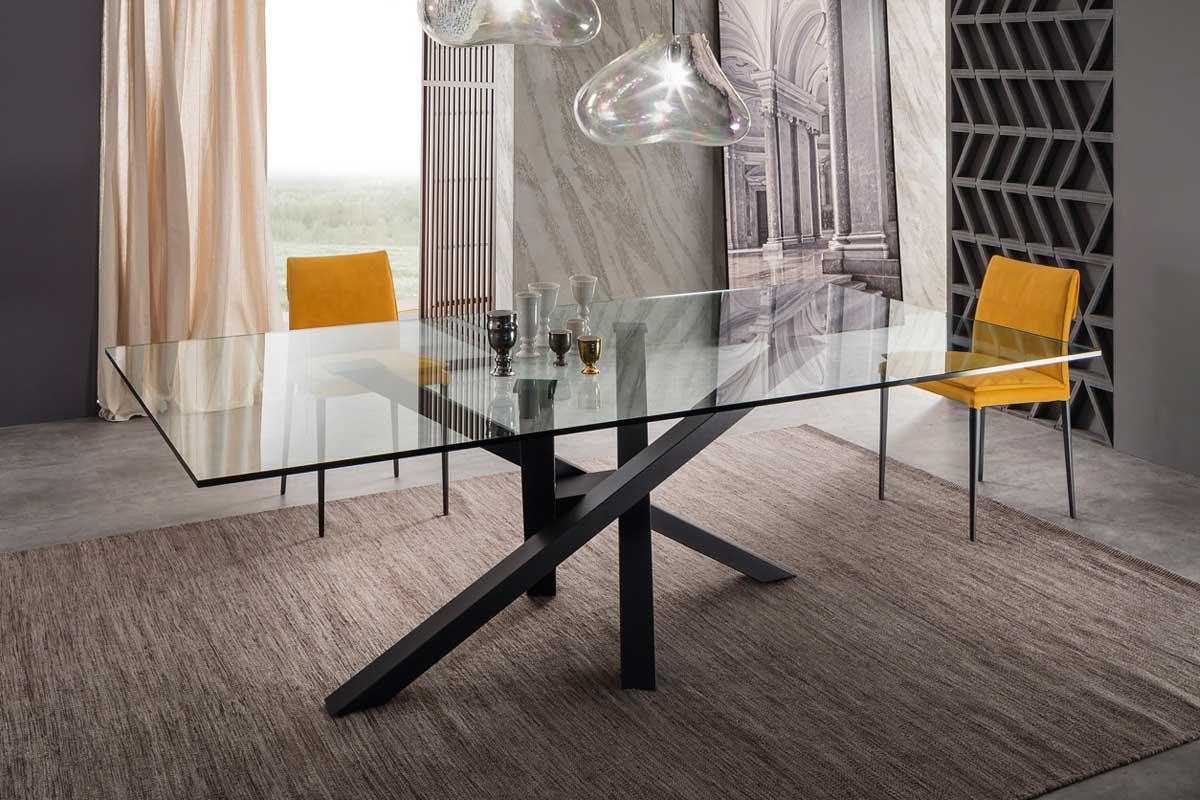 Tavolo moderno riflessi shangai tavoli acquistabile in - Tavolo legno cristallo ...