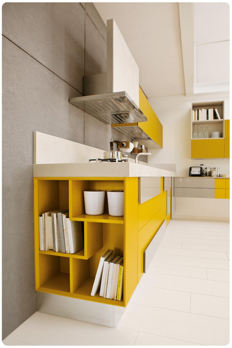 Cucine moderne componibili lube creativa acquistabile in - Cucine moderne gialle ...