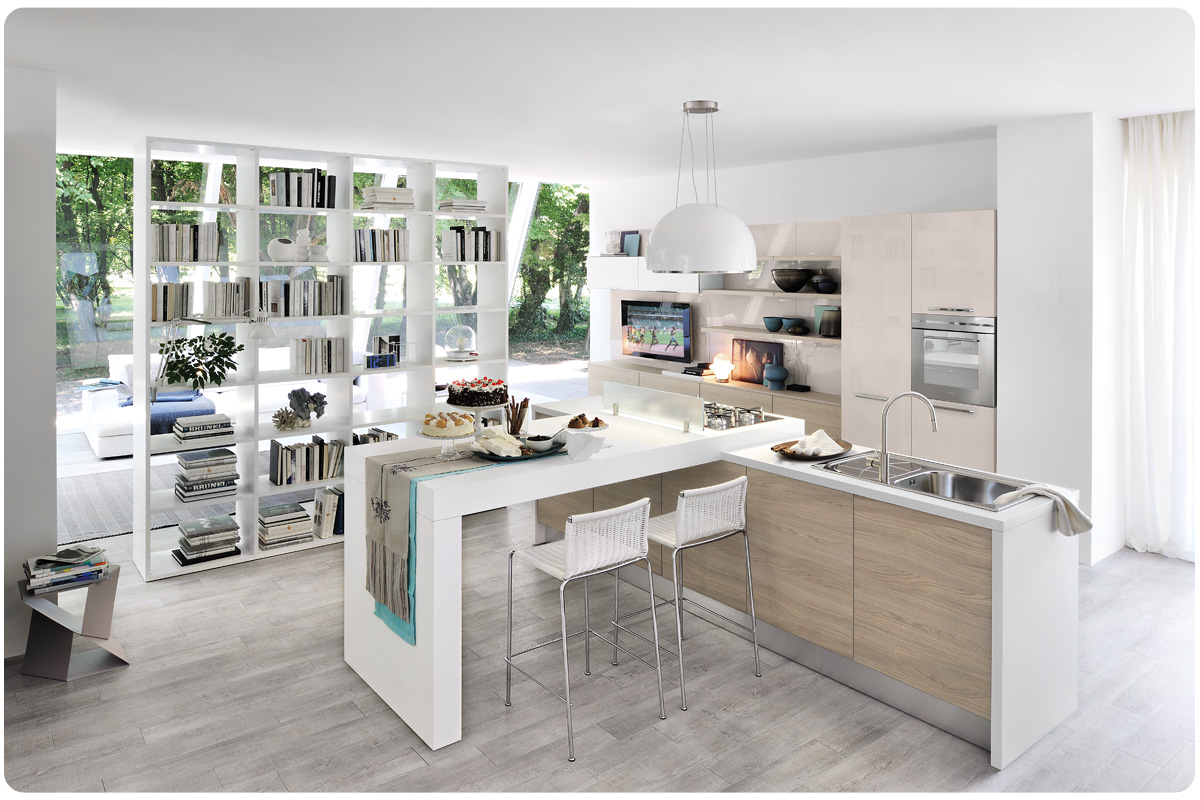 Cucine componibili moderne affordable cucina moderna componibile easy lops ametista with cucine - Cucine moderne con isola lube ...