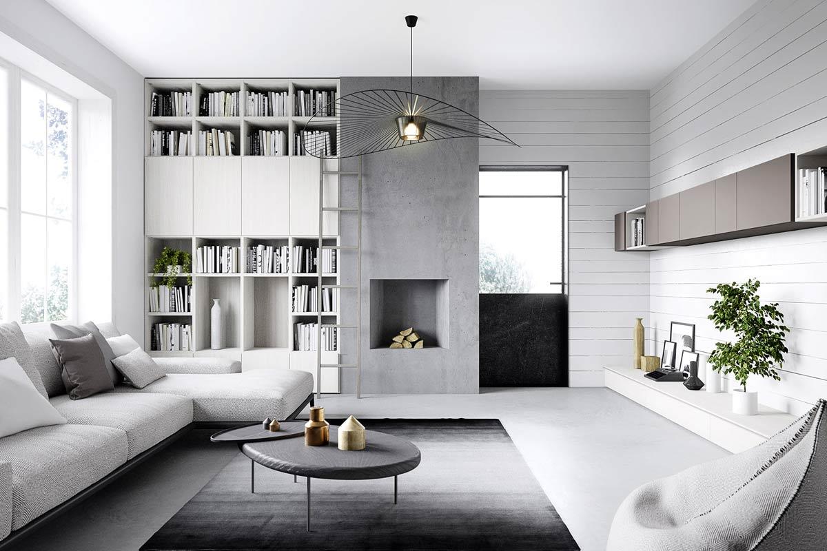 Soggiorno Moderno A Milano.Soggiorno Moderno Componibile Easy Lops Home Spaces Progetto 1