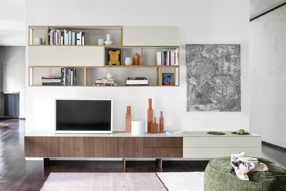 Soggiorno moderno componibile top lops living system 1 for Soggiorni bianchi